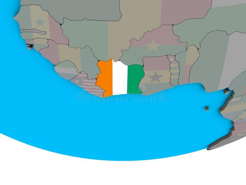 与旗子的象牙海岸在地球 皇族释放例证