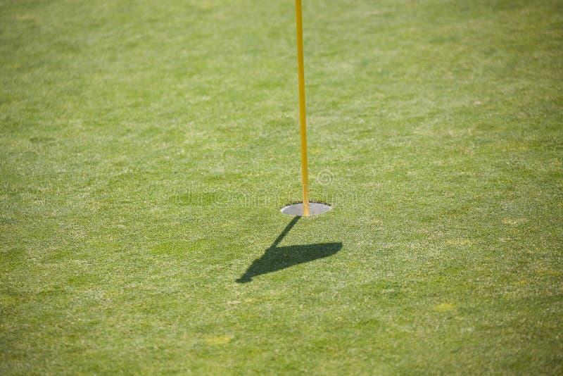 与旗子的阴影的高尔夫球孔 免版税图库摄影