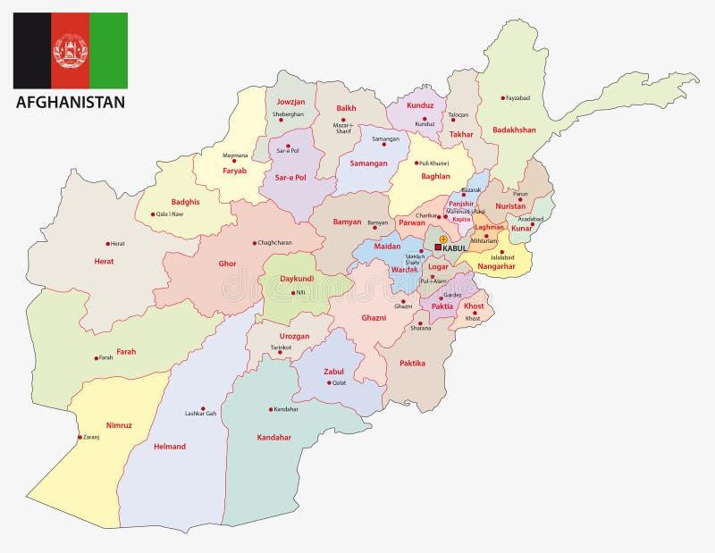 与旗子的阿富汗行政和政治地图 库存例证