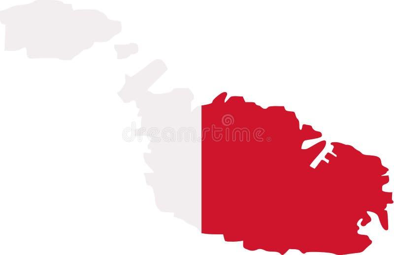 与旗子的马耳他地图 库存例证