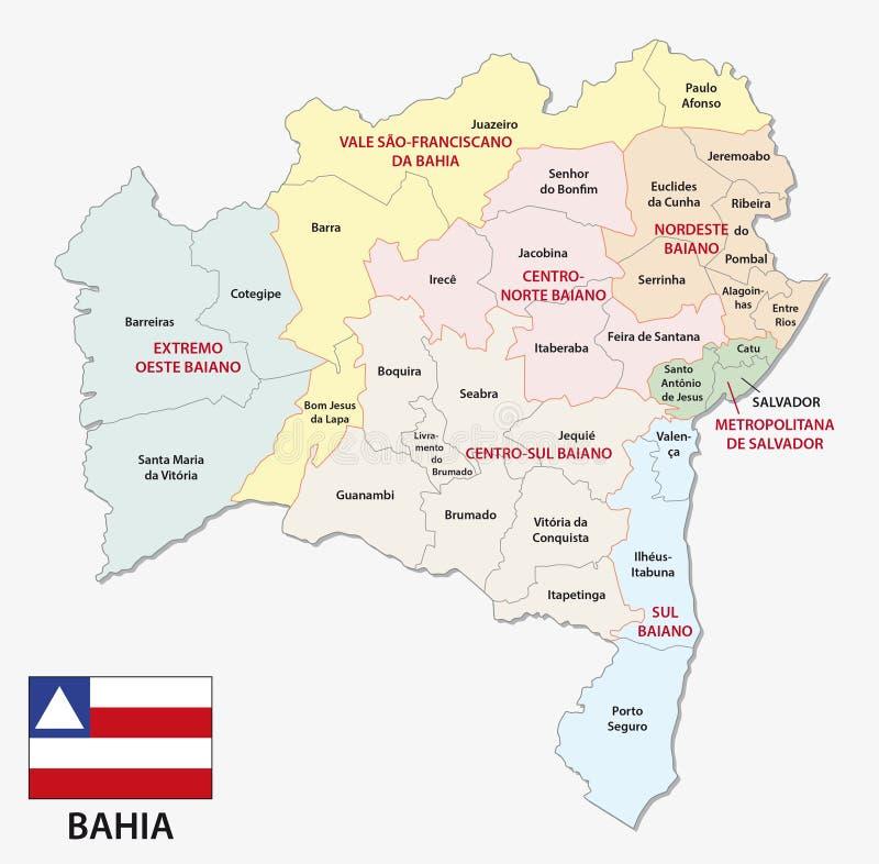 与旗子的巴伊亚行政和政治地图 向量例证