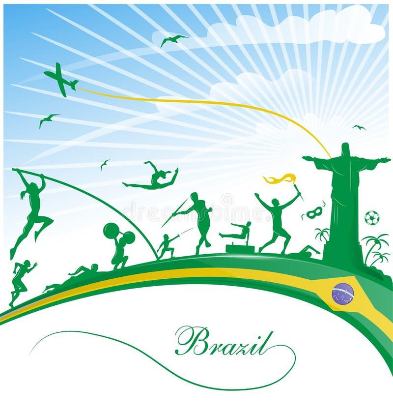 与旗子的巴西背景 皇族释放例证