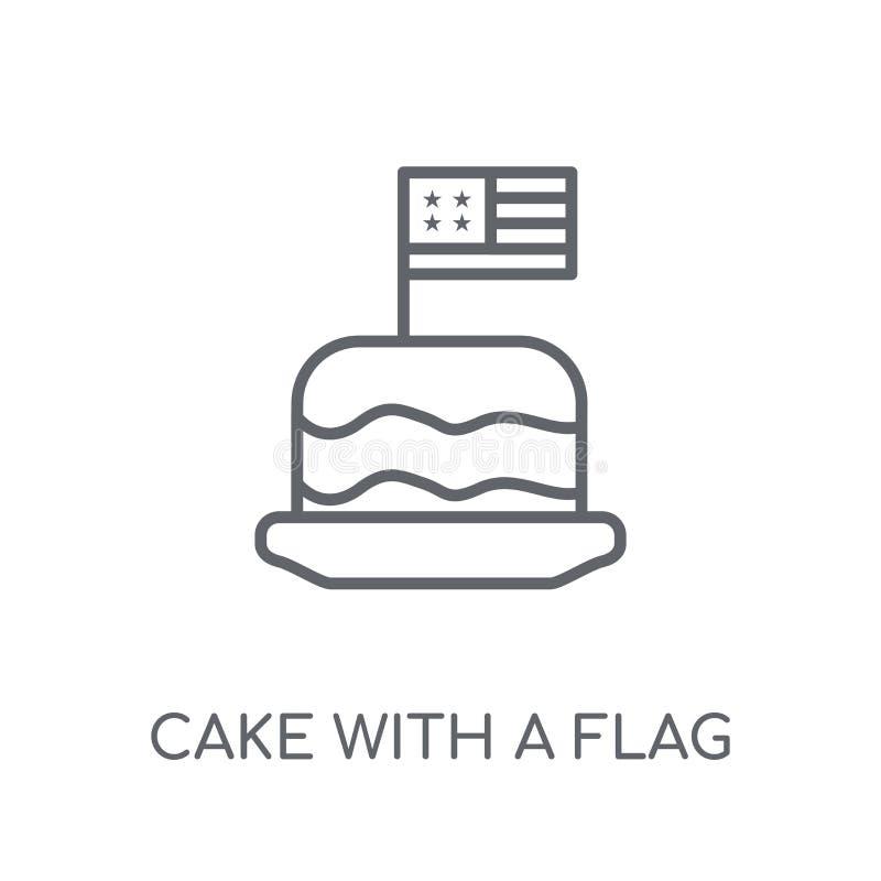 与旗子线性象的蛋糕 与旗子lo的现代概述蛋糕 库存例证