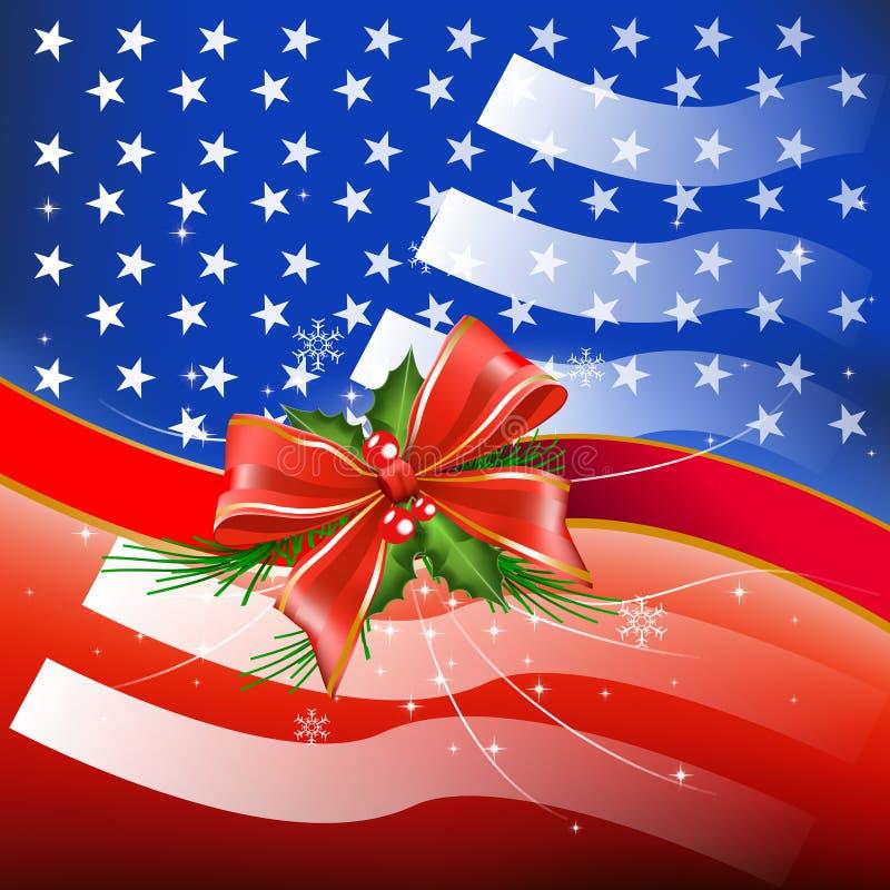 与旗子美国的圣诞快乐 库存照片