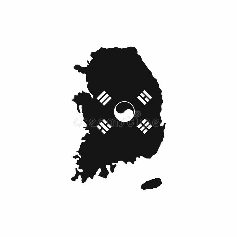 与在白色背景在简单的样式隔绝的国旗象的韩国地图 id.图片