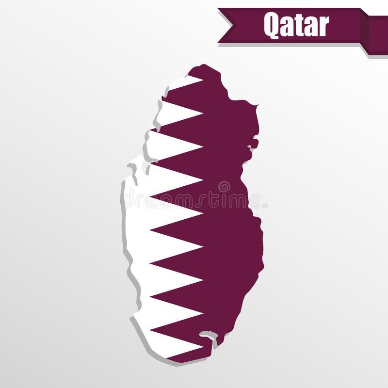 与旗子里面和丝带的卡塔尔地图 库存例证