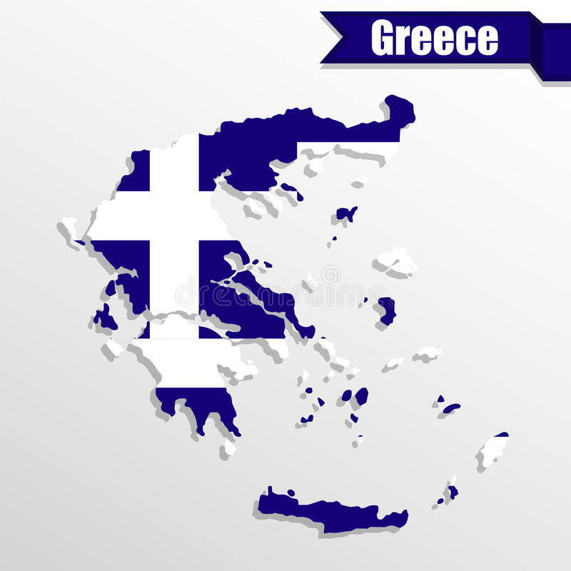 与旗子里面和丝带的希腊地图 库存例证