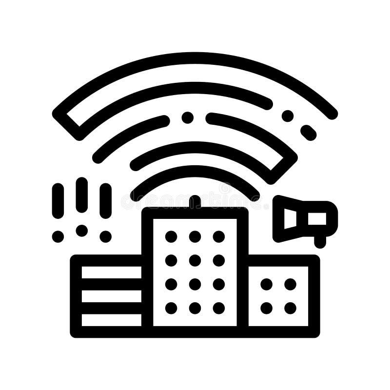 与无线电波的大厦导航稀薄的线象 库存例证
