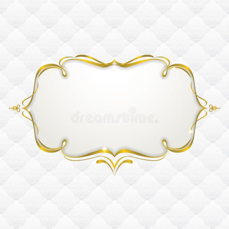 与无缝的室内装潢纹理的金框架 库存例证