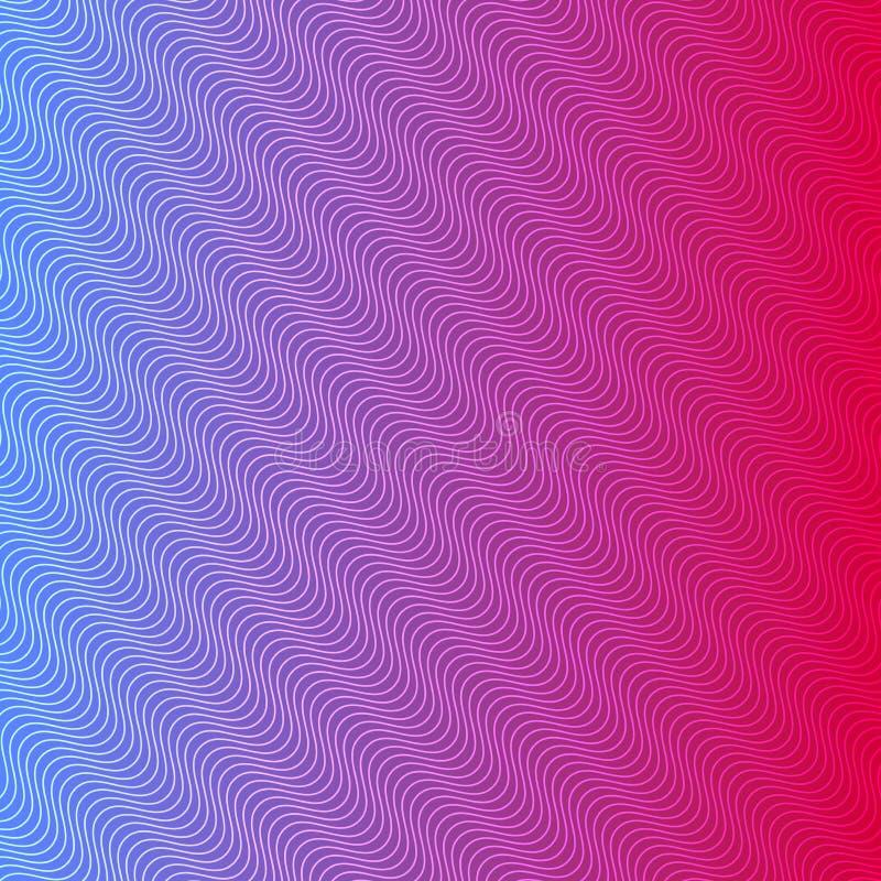 与无缝的对角波浪线纹理的蓝色和桃红色背景 向量例证