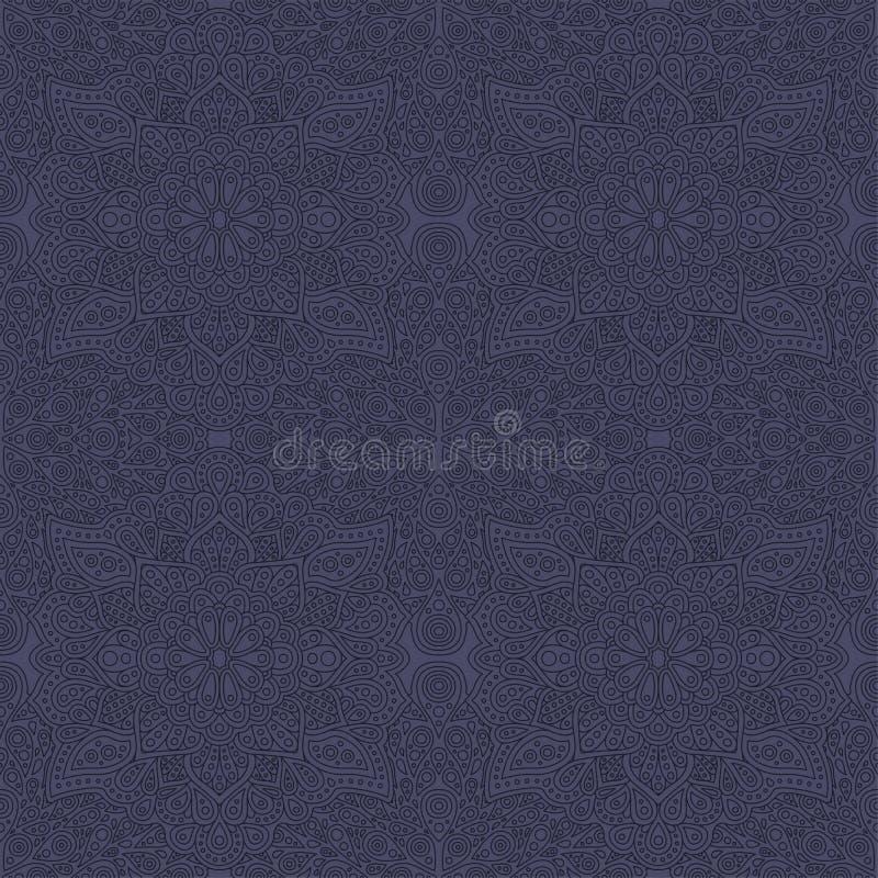与无缝的方形的线性样式的蓝色艺术 向量例证
