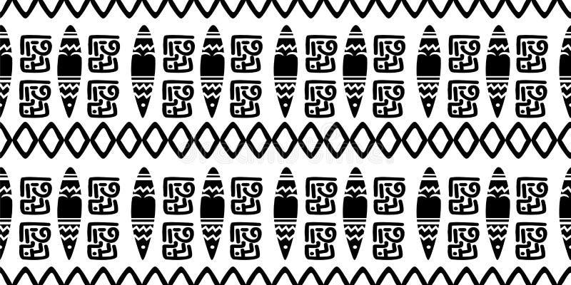 与无缝的标志元素手拉的文化背景摘要时髦阿兹台克非洲玛雅人的种族样式古老在黑色 库存例证
