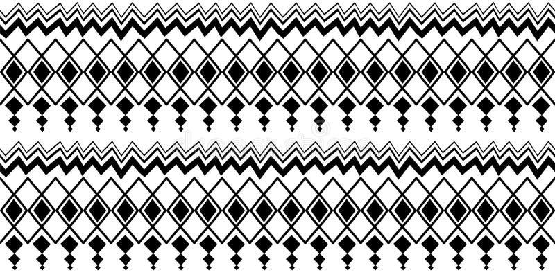 与无缝的标志元素手拉的文化背景摘要时髦阿兹台克非洲玛雅人的种族样式古老在黑色 向量例证