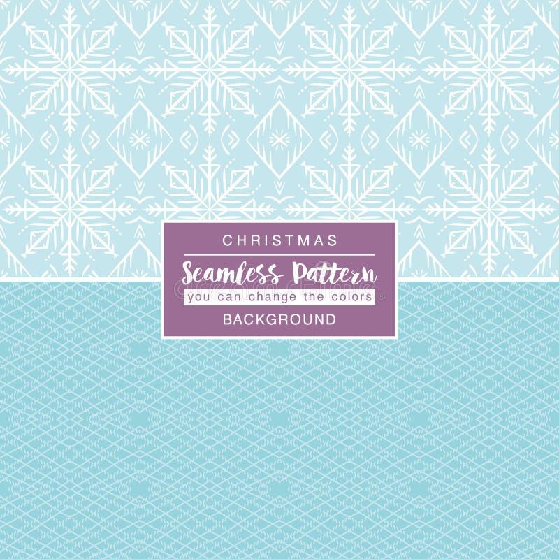 与无缝的样式的蓝色圣诞节背景 向量例证