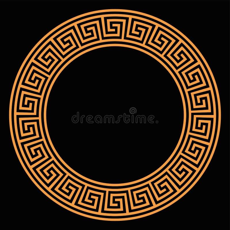 与无缝的河曲设计的圆环在黑背景 库存例证