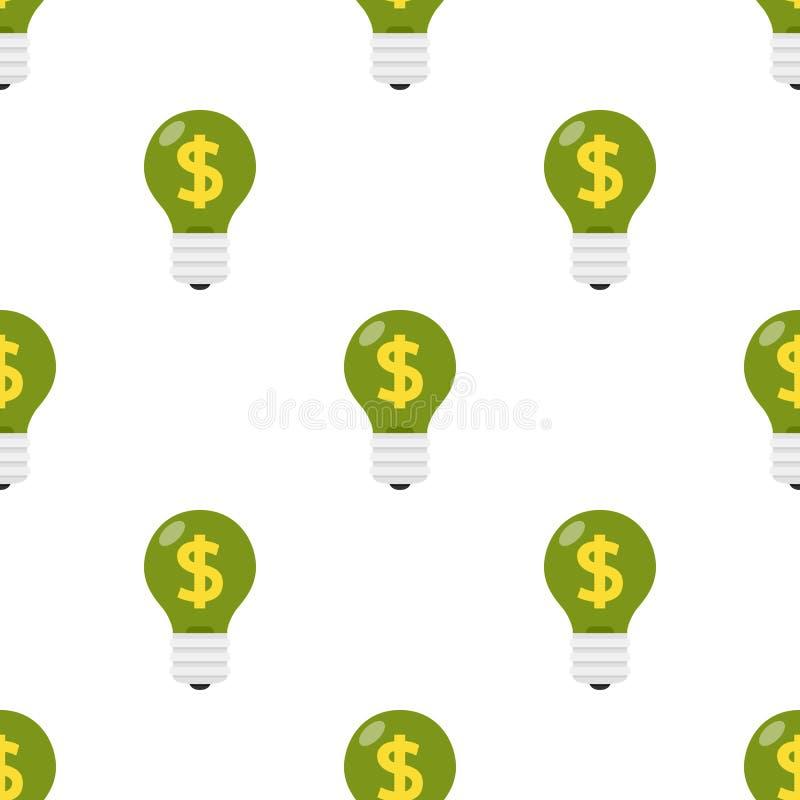 与无缝的美元的符号的绿灯电灯泡 库存例证
