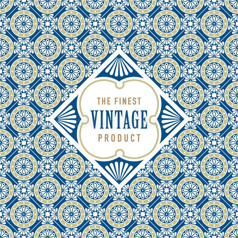 与无缝的金子和蓝色样式背景的葡萄酒标签 成套设计的理想 库存例证