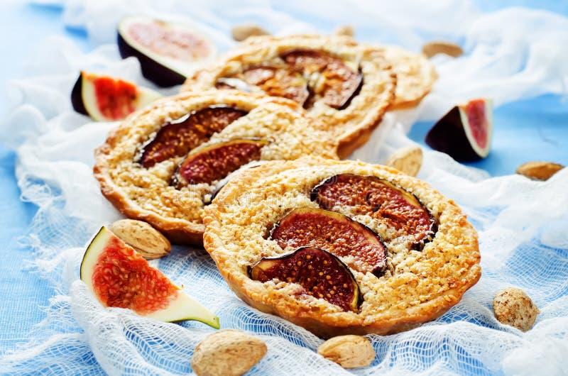 与无花果和杏仁奶油(Frangipane)的果子馅饼 库存照片