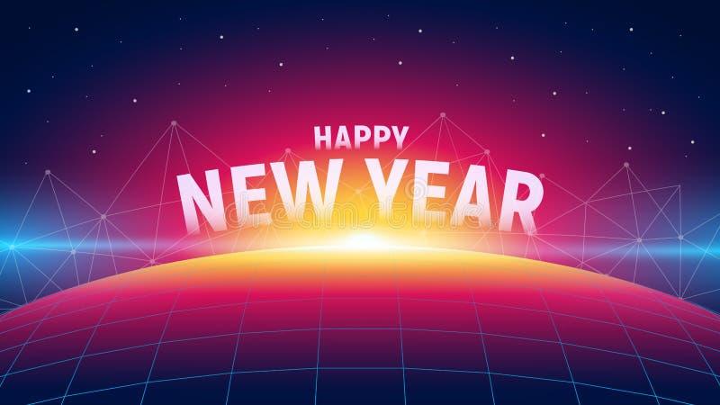 与日出、多角形连接结构和栅格行星的现代未来派新年背景 时髦霓虹样式 皇族释放例证