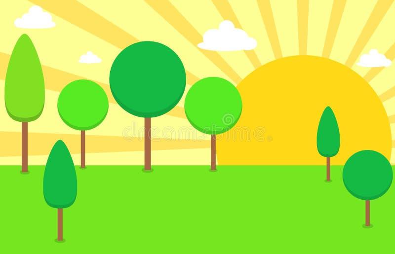 与日出或日落的绿色风景场面 库存例证
