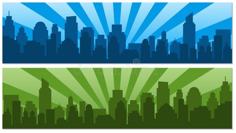 与日出的两张海报和流行艺术的s现代剪影城市 库存例证