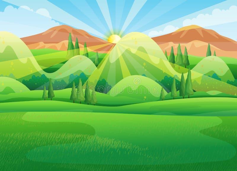 与日出的自然场面早晨 向量例证