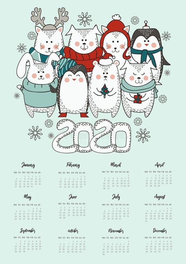 2020与日历的新年逗人喜爱的贺卡 在冬天衣物的动物在斯堪的纳维亚样式 逗人喜爱的动物圣诞卡片 皇族释放例证