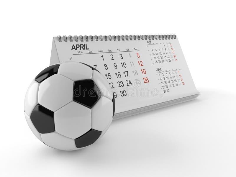 与日历的足球 皇族释放例证