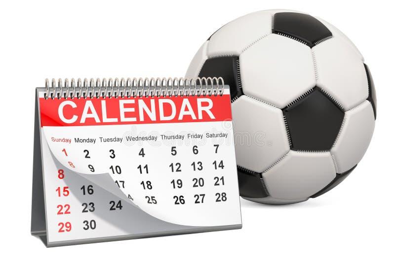 与日历,足球事件日历概念的足球 3d?? 皇族释放例证