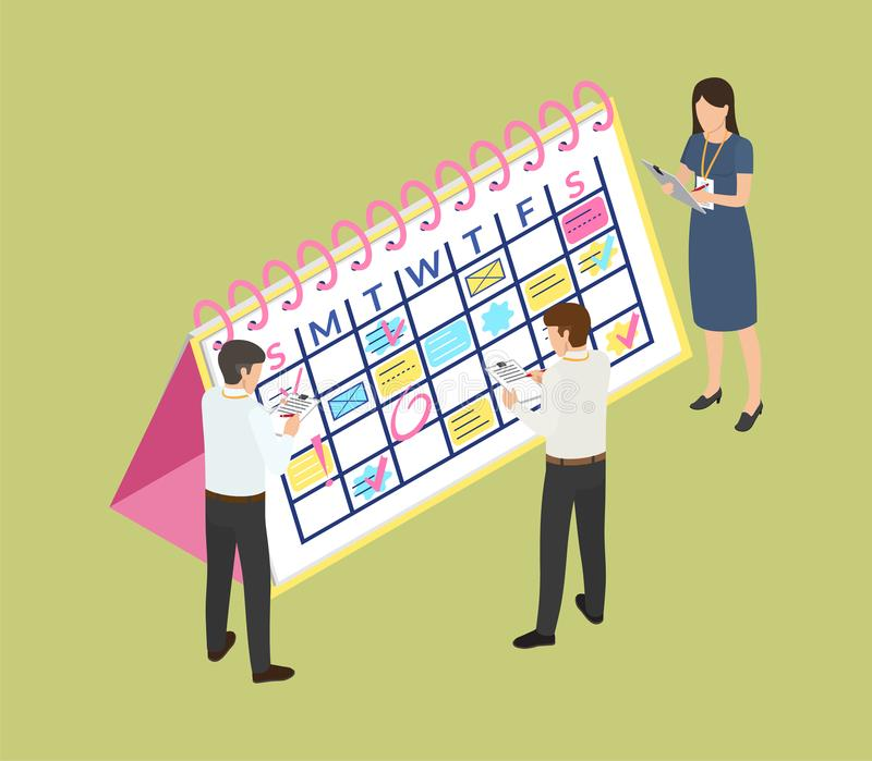 与日期和任命信息的日历 向量例证