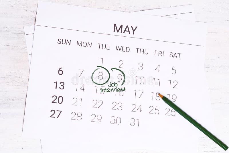 与日期提示的日历关于工作面试 免版税库存图片