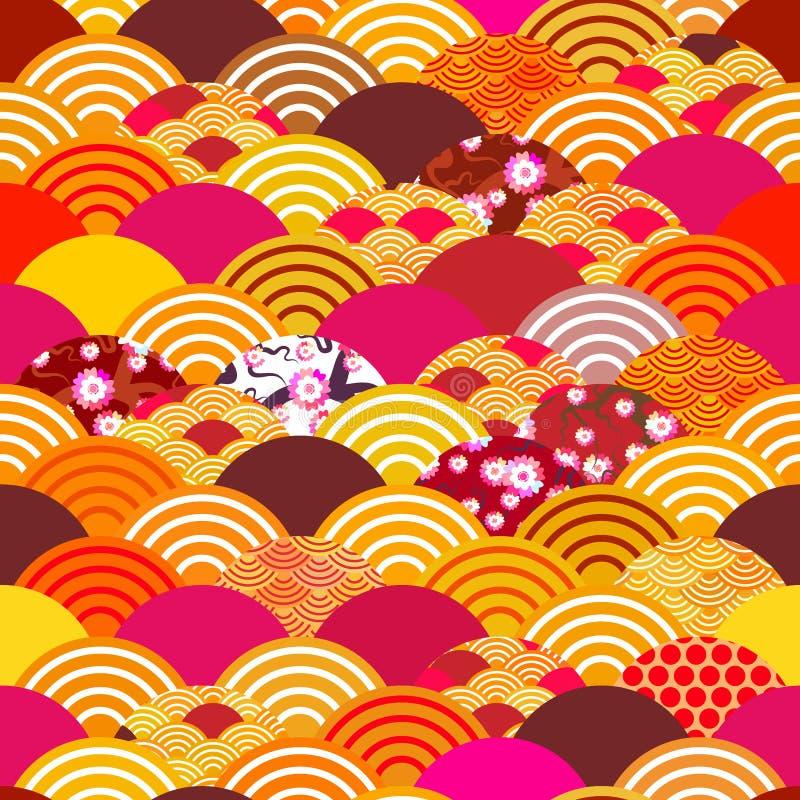 与日本人佐仓花,玫瑰色桃红色樱桃,波浪圈子样式蓝色奥兰的无缝的样式鱼鳞简单的自然背景 皇族释放例证