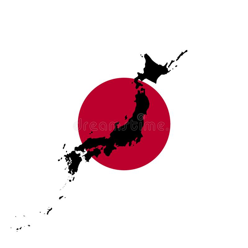 与日本的地图剪影,例证的日本旗子 向量例证