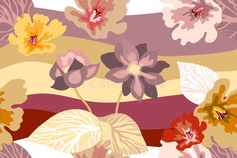 与日本艺术主题的美丽的植物的印刷品 向量例证