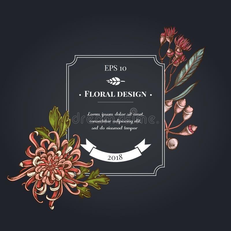 与日本菊花,黑莓百合,玉树花的黑暗的徽章设计 库存例证