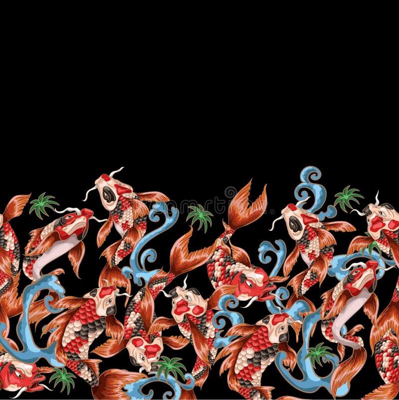 与日本鲤鱼koi的无缝的样式用与波浪的不同的姿势 库存例证