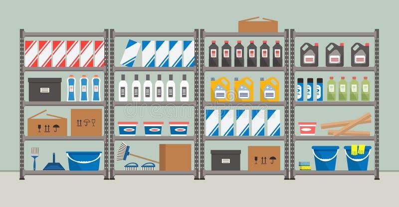 与日用商品的棚架 仓库机架 库房 向量例证