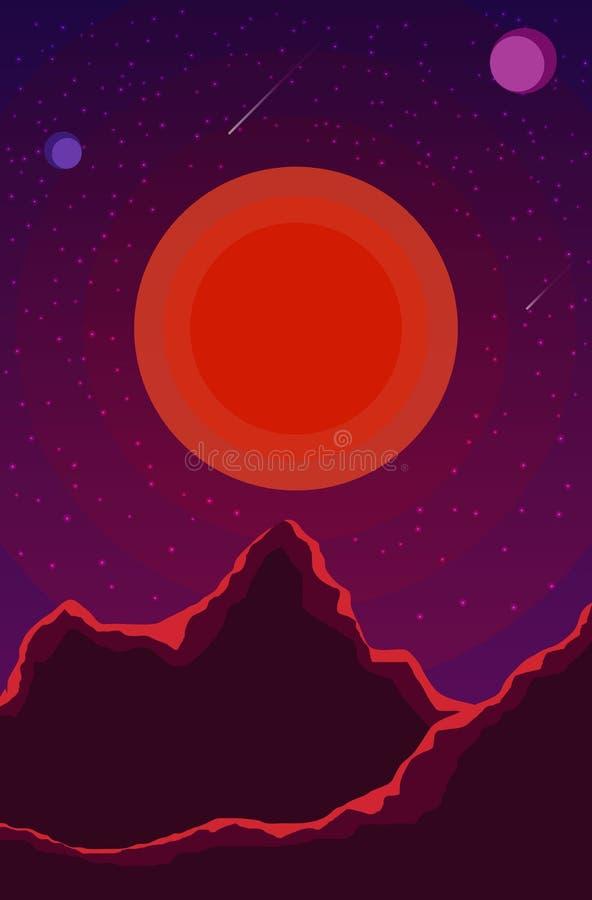 与日落、行星和满天星斗的天空的风景 在树荫紫罗兰的空间风景,紫色 E EPS10 皇族释放例证