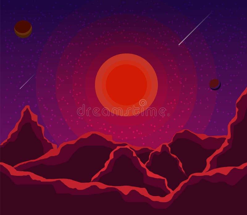 与日落、行星和满天星斗的天空的风景 在树荫紫罗兰的空间风景,紫色 E r 皇族释放例证