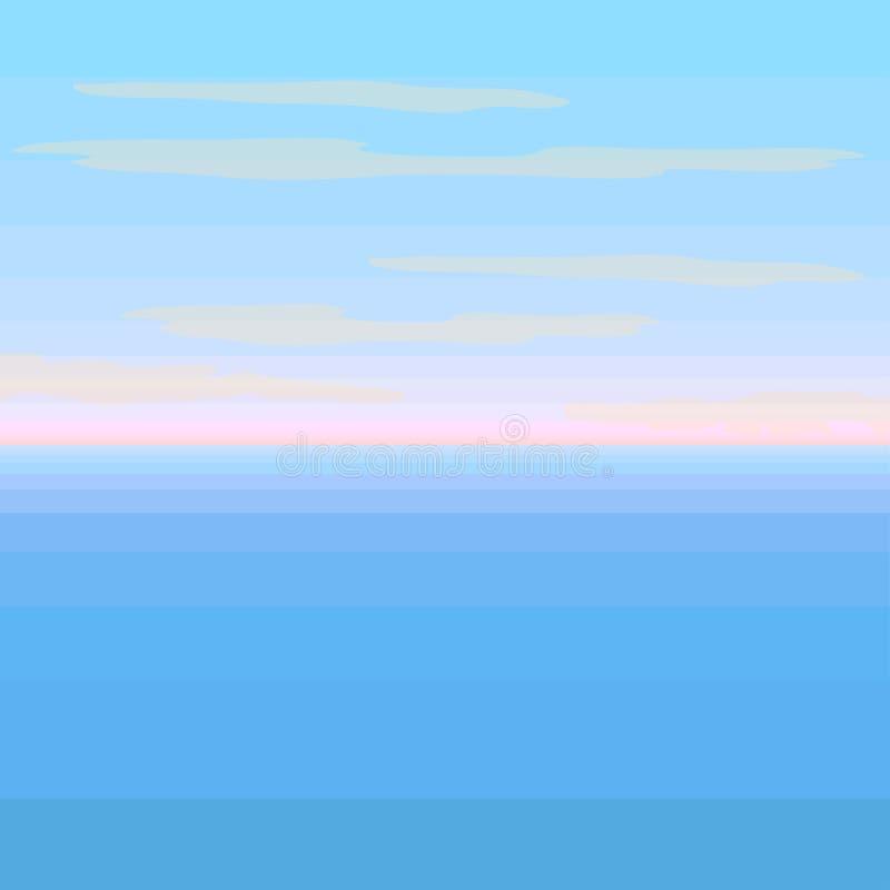 与日落例证的被隔绝的美好的海景 向量例证