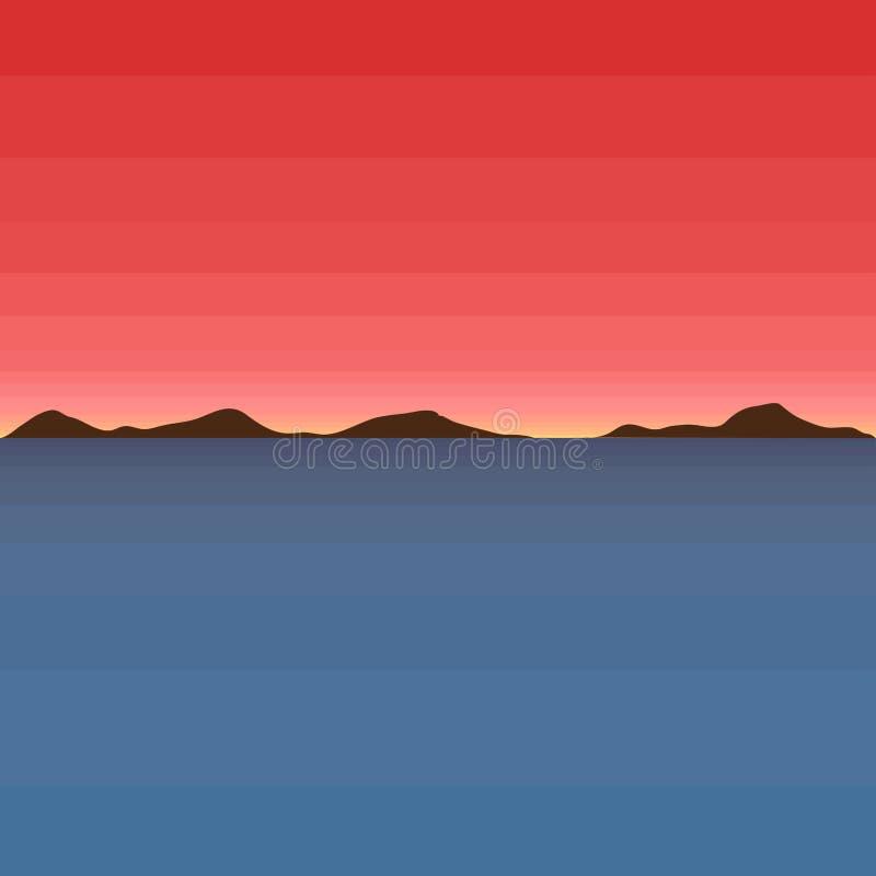 与日落例证的被隔绝的美好的海景 库存例证