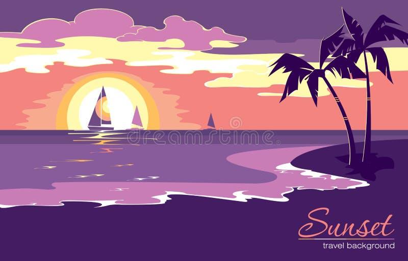 与日落的暑假背景在平的设计样式 向量例证