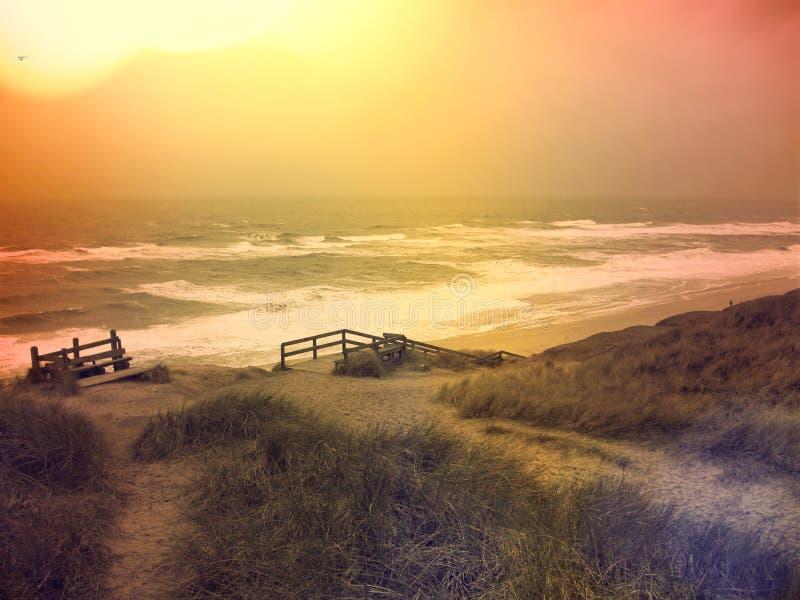 与日落的海滩场面 免版税图库摄影