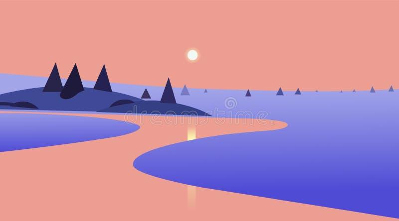 与日落的自然在河设计的风景和反射 也corel凹道例证向量 美好的场面 库存例证