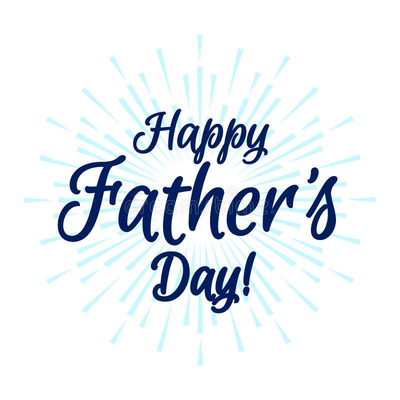 与旭日形首饰的愉快的父亲节时髦字法贺卡装饰的 库存例证