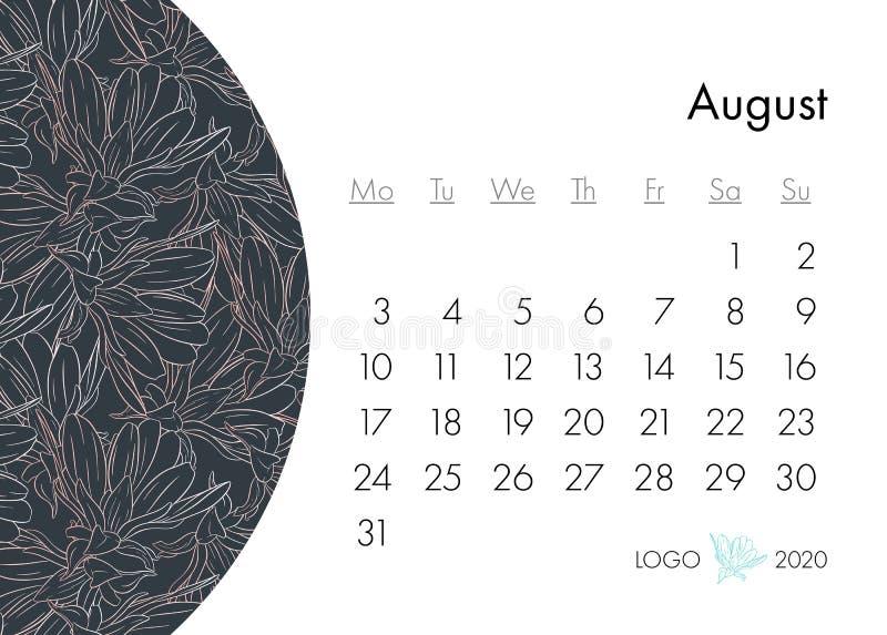 与时尚印刷品的花卉日历2020年 开花的,与花墨水剪影的分支植物 r 皇族释放例证