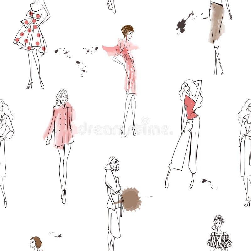 与时尚女孩的无缝的样式 库存例证