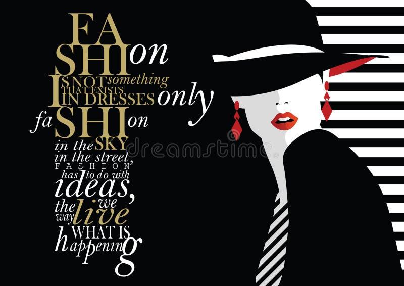 与时尚妇女的时尚行情 向量例证