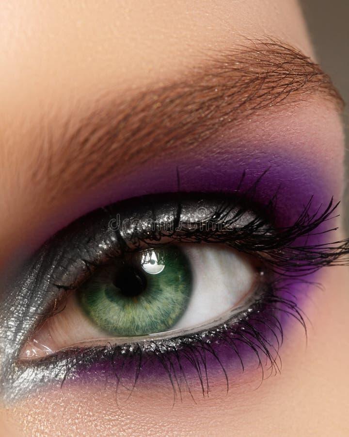 与时尚明亮的构成的特写镜头女性眼睛 美丽的银,紫色眼影膏,闪烁,黑眼线膏 免版税库存照片