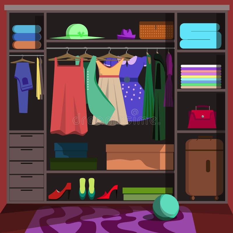 与时尚衣裳的壁橱 衣橱室 库存例证